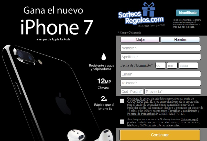 sorteo y regalo iphone 7